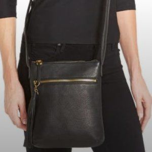 HOBO Leather Crossbody Bag Black Sara Tassel Purse